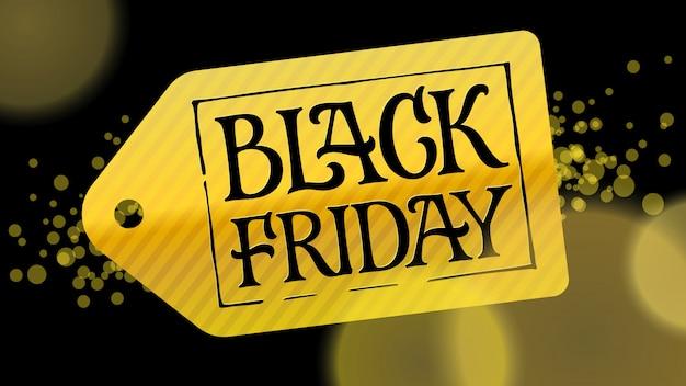Rótulo de ouro com letras pretas sexta-feira negra sobre um fundo preto. ilustração para anúncios, banners, folhetos, brochura, promoções. Vetor Premium