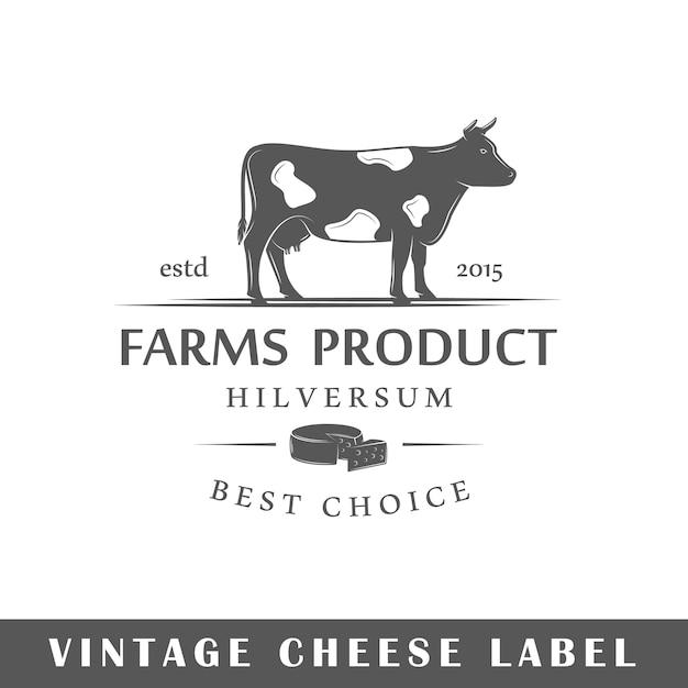 Rótulo de queijo em fundo branco. elemento. modelo de logotipo, sinalização, branding. ilustração Vetor Premium