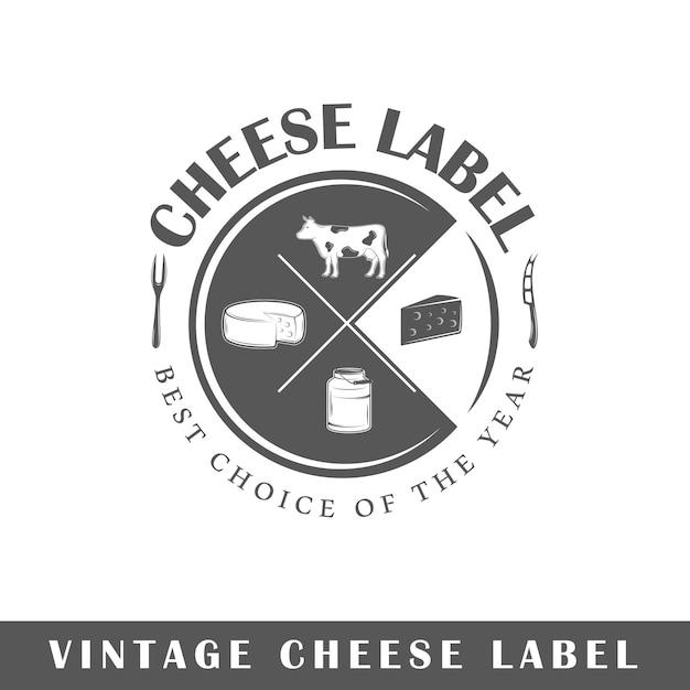 Rótulo de queijo isolado no fundo branco. elemento de design. modelo de logotipo, sinalização, design de marca. Vetor Premium