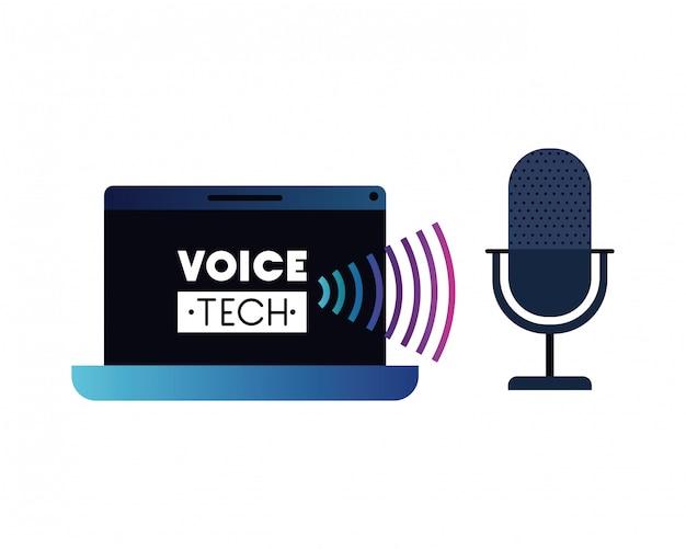 Rótulo de tecnologia de voz com laptop e assistente de voz Vetor Premium
