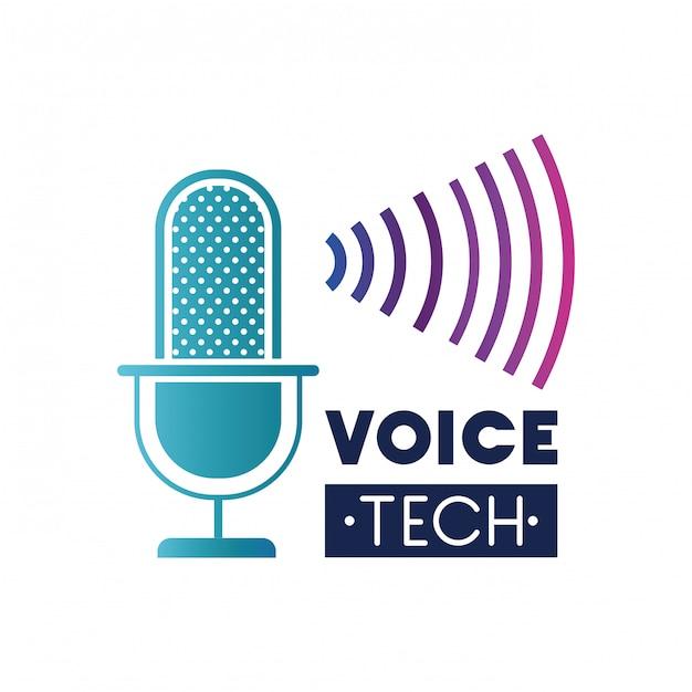 Rótulo de tecnologia de voz com microfone e onda sonora Vetor Premium