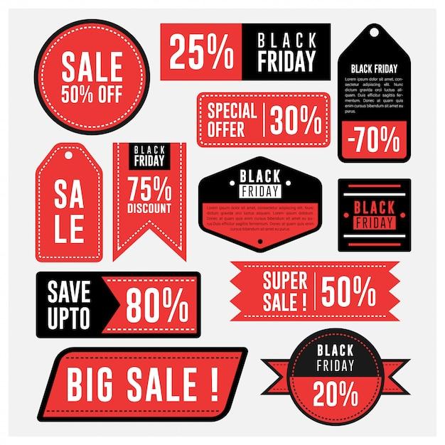 Rótulo de venda e distintivo de emblema de sexta-feira negra Vetor Premium