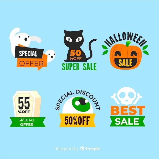 Rótulo de venda plana com criaturas de halloween Vetor grátis