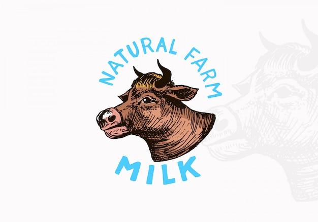 Rótulo do leite. logotipo da vaca vintage para a loja. Vetor Premium