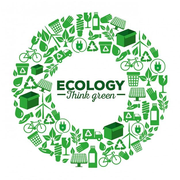 Rótulo ecológico com elemento renovável para proteção Vetor Premium