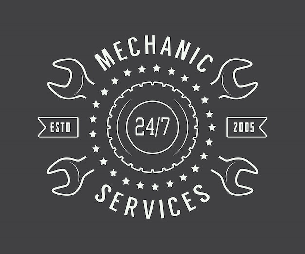 Rótulo mecânico, emblema Vetor Premium