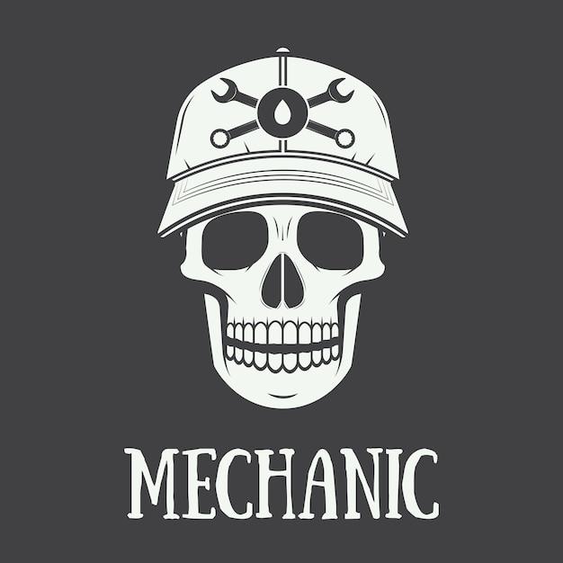 Rótulo mecânico vintage, emblema e logotipo Vetor Premium