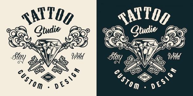 Rótulo monocromático de salão de tatuagem Vetor grátis