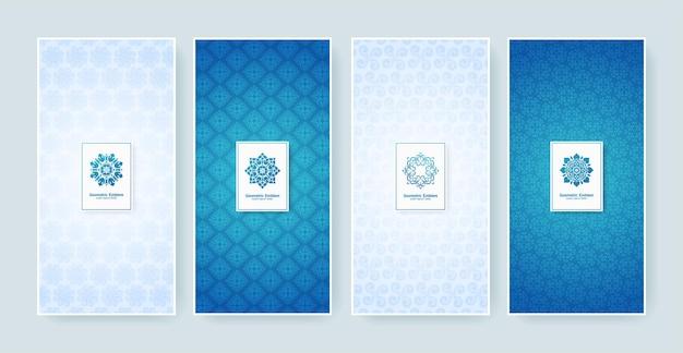 Rótulo retro azul e branco com logotipo caligráfico. coleção de monogramas antigos. Vetor Premium