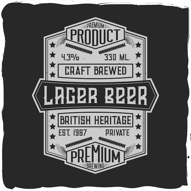Rótulo vintage com composição de letras no escuro. Vetor Premium