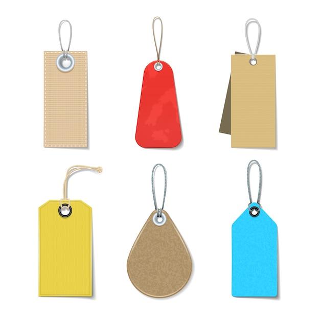 Rótulos coloridos e brilhantes e tags ícones realistas definido para roupas Vetor grátis