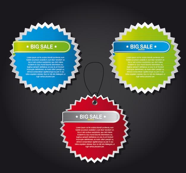 Rótulos coloridos sobre ilustração vetorial de fundo cinza Vetor Premium