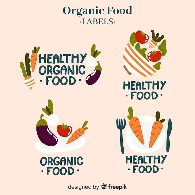 Rótulos de alimentos orgânicos desenhados a mão Vetor grátis