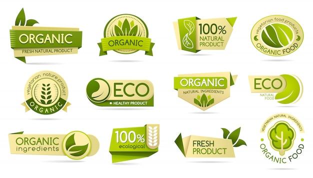 Rótulos de alimentos orgânicos, produtos ecológicos e bio naturais Vetor Premium