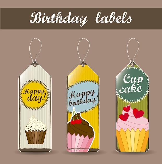 Rótulos de aniversário com ilustração em vetor estilo vintage bolos cup Vetor Premium