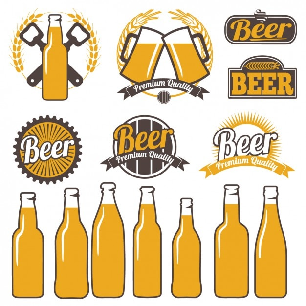 Rótulos de cerveja coloridos Vetor grátis
