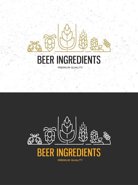 Rótulos de cervejaria cervejaria com logotipos de cervejas artesanais, emblemas de cervejaria, bar, pub, cervejaria, cervejaria, tabernas no preto Vetor grátis
