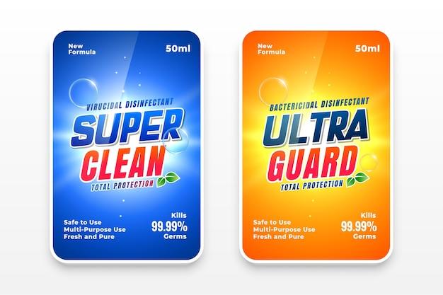 Rótulos de detergentes super limpos Vetor grátis