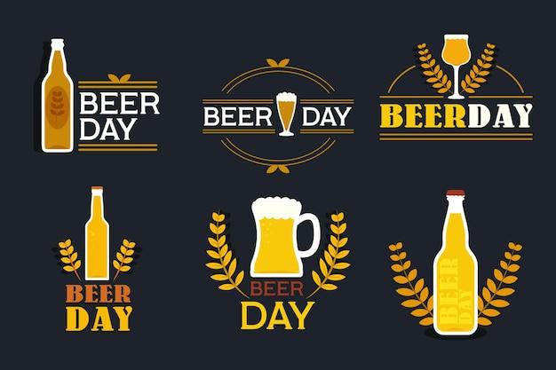 Rótulos de dia internacional da cerveja de design plano Vetor grátis