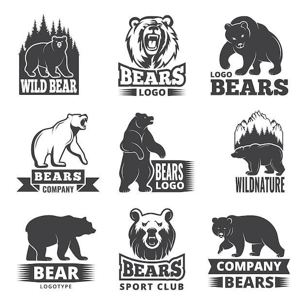 Rótulos de esporte com ilustrações de animais. fotos de ursos para design de logotipo Vetor Premium