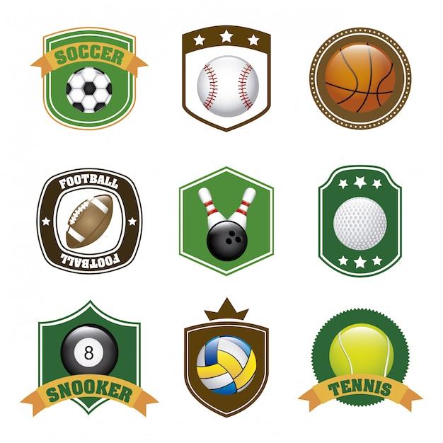 Rótulos de esportes sobre ilustração vetorial de fundo branco Vetor Premium