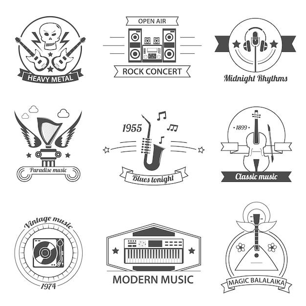 Rótulos de estilos de música preto e branco Vetor grátis