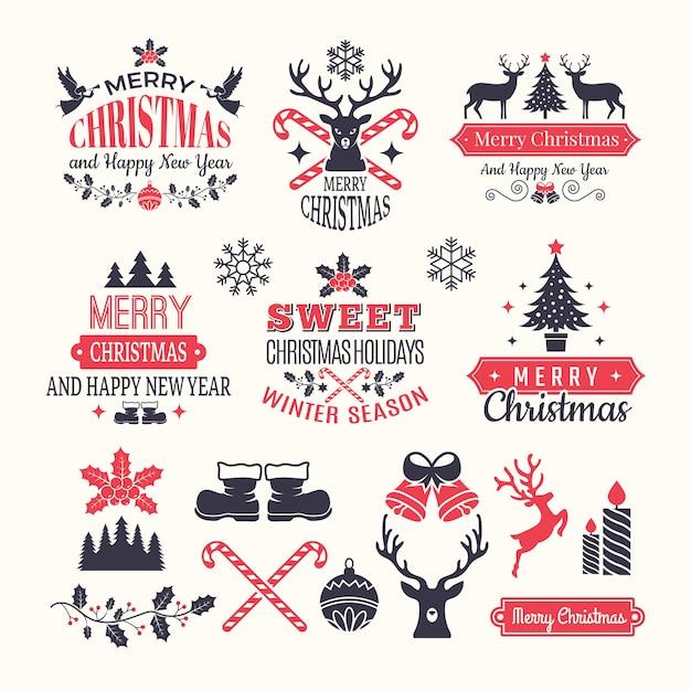 Rótulos de férias de natal. emblemas de inverno vintage e logotipos com vários elementos de ano novo de neve e lugar para o seu texto Vetor Premium