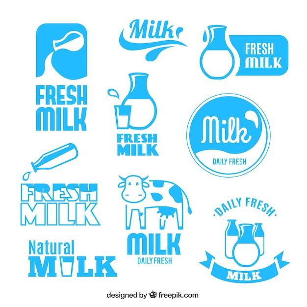 Rótulos de leite fresco Vetor grátis