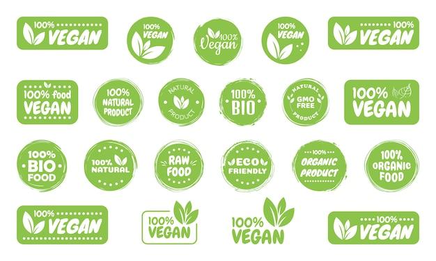 Rótulos de logotipo de comida vegan Vetor Premium