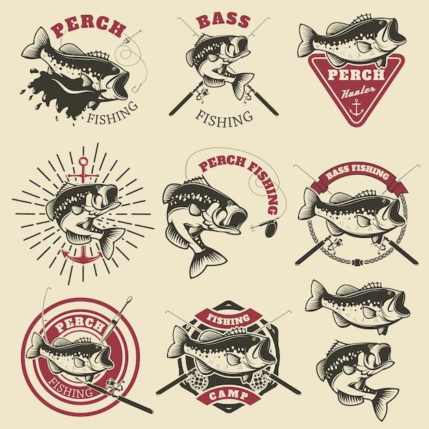 Rótulos de pesca baixa Vetor Premium