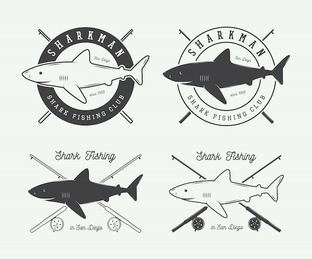 Rótulos de pesca Vetor Premium