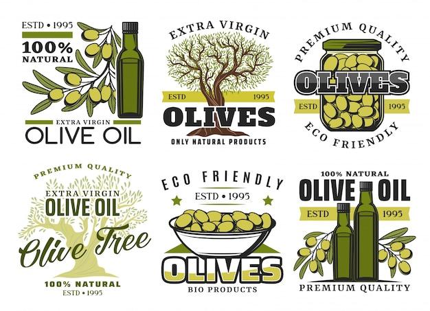 Rótulos de produtos de azeite e vegetais Vetor Premium
