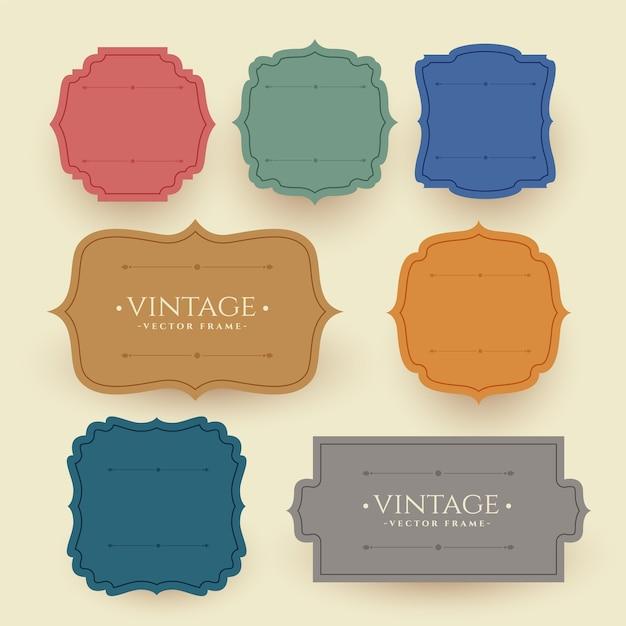 Rótulos de quadros vintage em cores retrô Vetor grátis