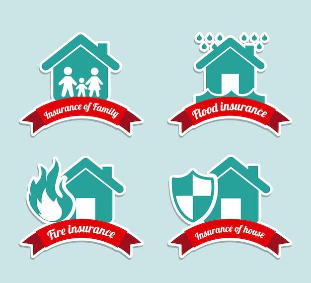 Rótulos de seguros sobre ilustração vetorial de fundo azul Vetor Premium
