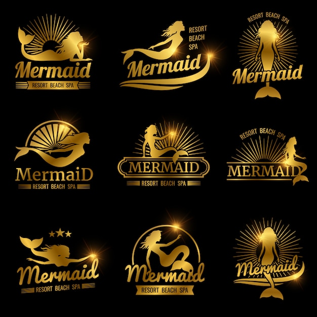 Rótulos de sereia dourada. design de logotipos de spa de praia resort brilhante Vetor Premium