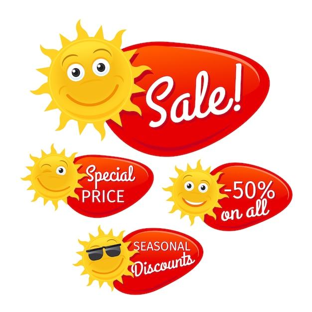 Rótulos de venda de verão Vetor Premium