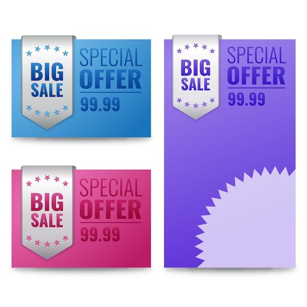 Rótulos de venda e banner com texto de oferta especial. Vetor Premium