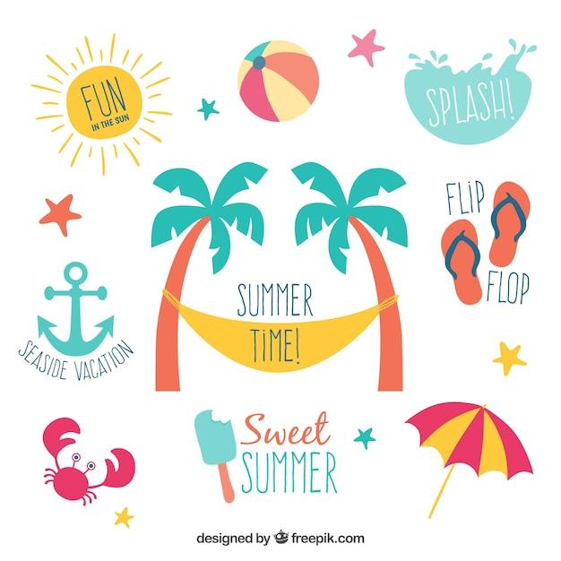 Rótulos de verão Vetor grátis