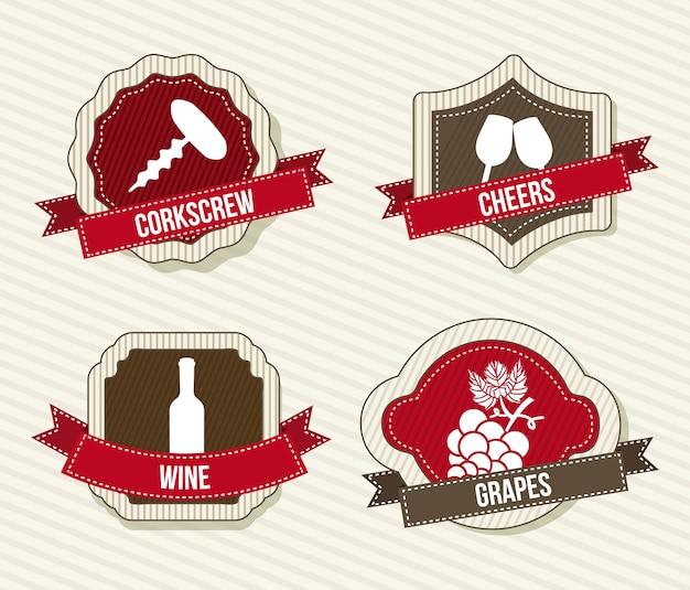 Rótulos de vinho sobre ilustração vetorial de fundo bege Vetor Premium