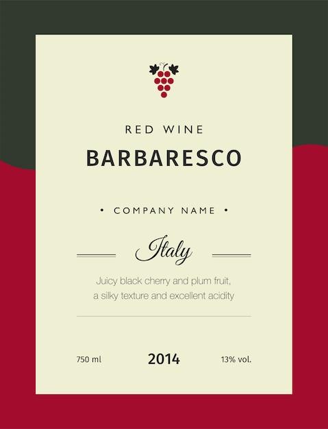 Rótulos de vinho tinto Vetor Premium