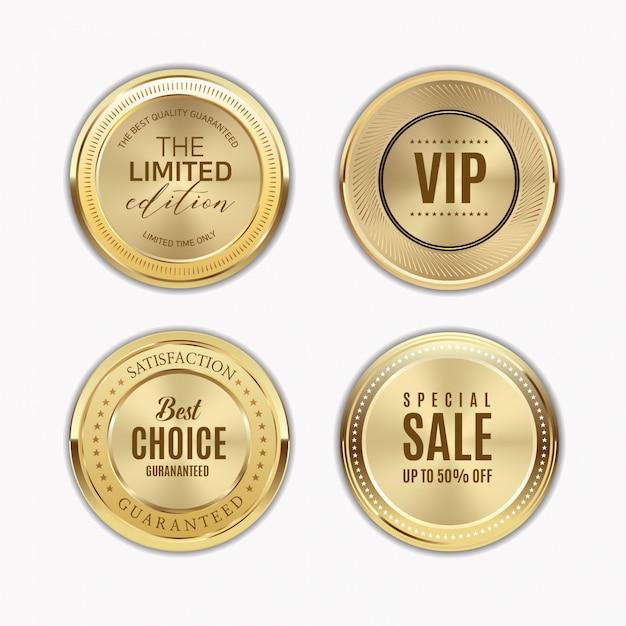 Rótulos dourados com moldura dourada sobre bege Vetor Premium