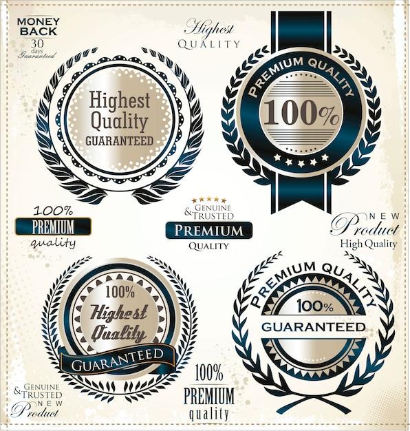 Rótulos dourados de luxo Vetor Premium