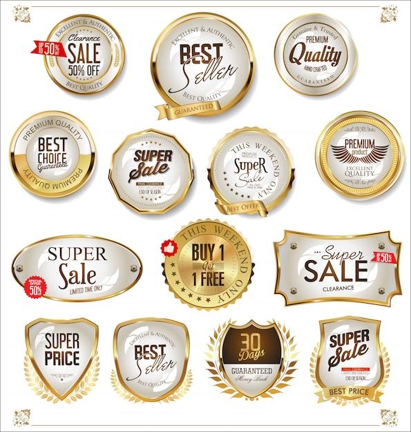 Rótulos dourados Vetor Premium