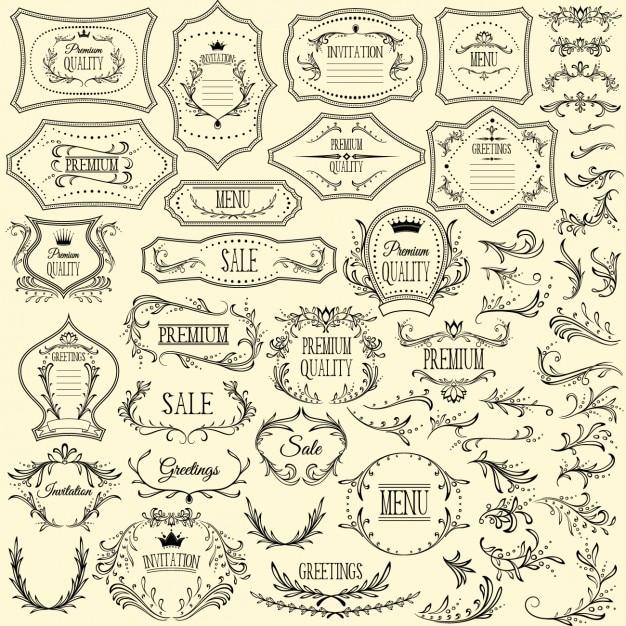 Rótulos e ornamentos coleção Vetor grátis