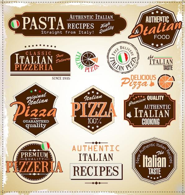 Rótulos retrô de pizza Vetor Premium