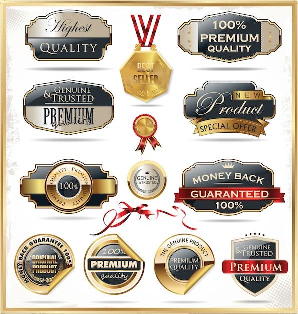 Rótulos retrô Vetor Premium