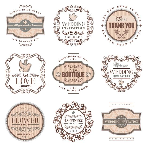 Rótulos românticos vintage com convite de casamento amam quadros ornamentais de amoroso inscrições Vetor grátis