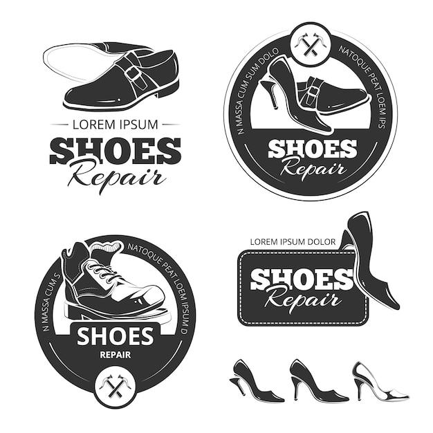 Rótulos vintage conjunto de sapatos Vetor Premium