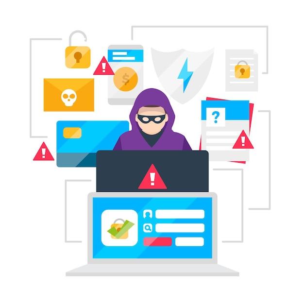Roubar o conceito de ataque cibernético de dados Vetor grátis