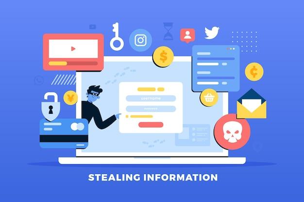 Roubar o conceito de dados com ladrões e laptop Vetor grátis